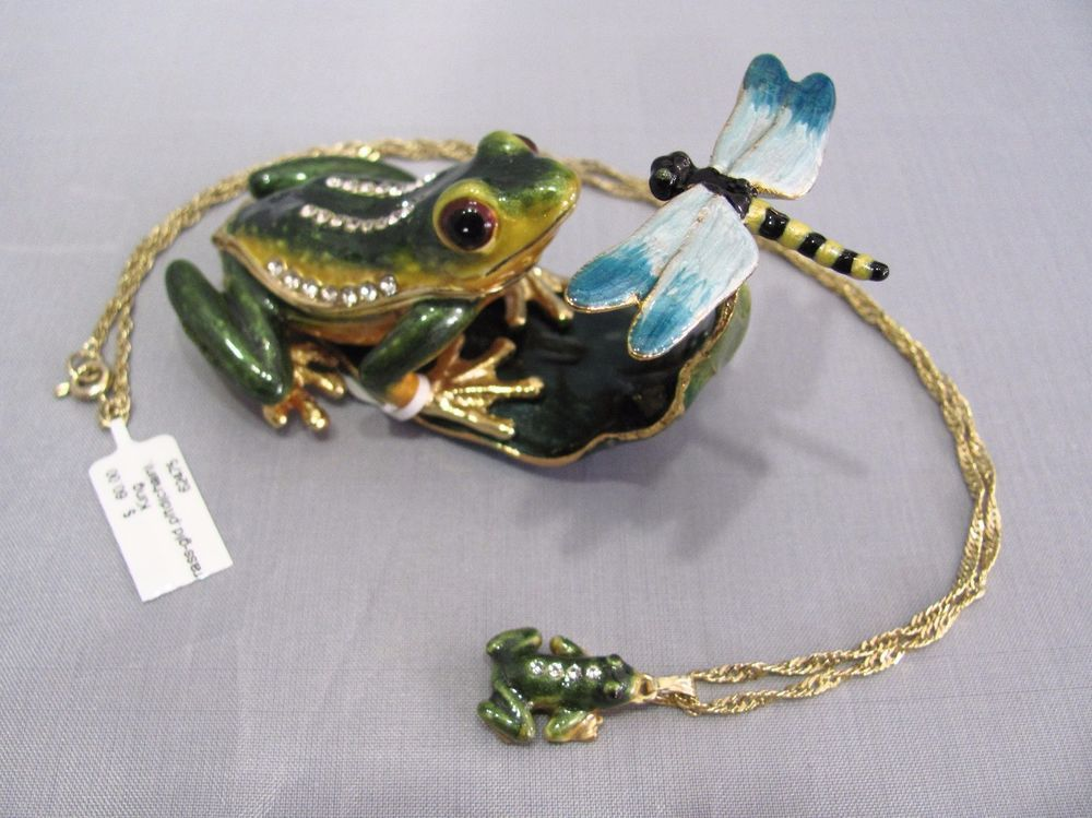 New Trinket Box Gift Painted Swarovski Crystals Frog Animal Necklace