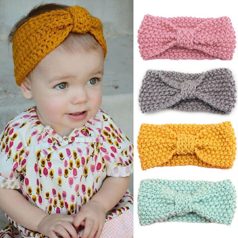 Baby Elastic Turban Head Wrap Headbands Kids Girl Knitting Button Hairbands