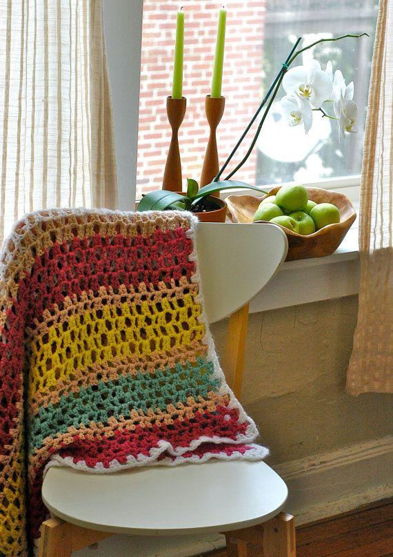 Handmade Afghan Crocheted, Large, Rainbow Stripes