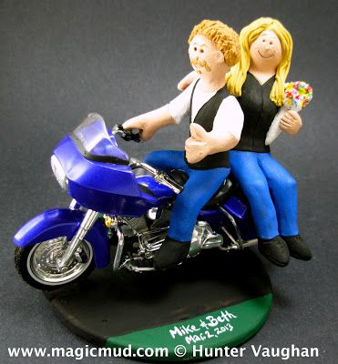 Harley Bikers In Leather Vests Wedding Cake Topper