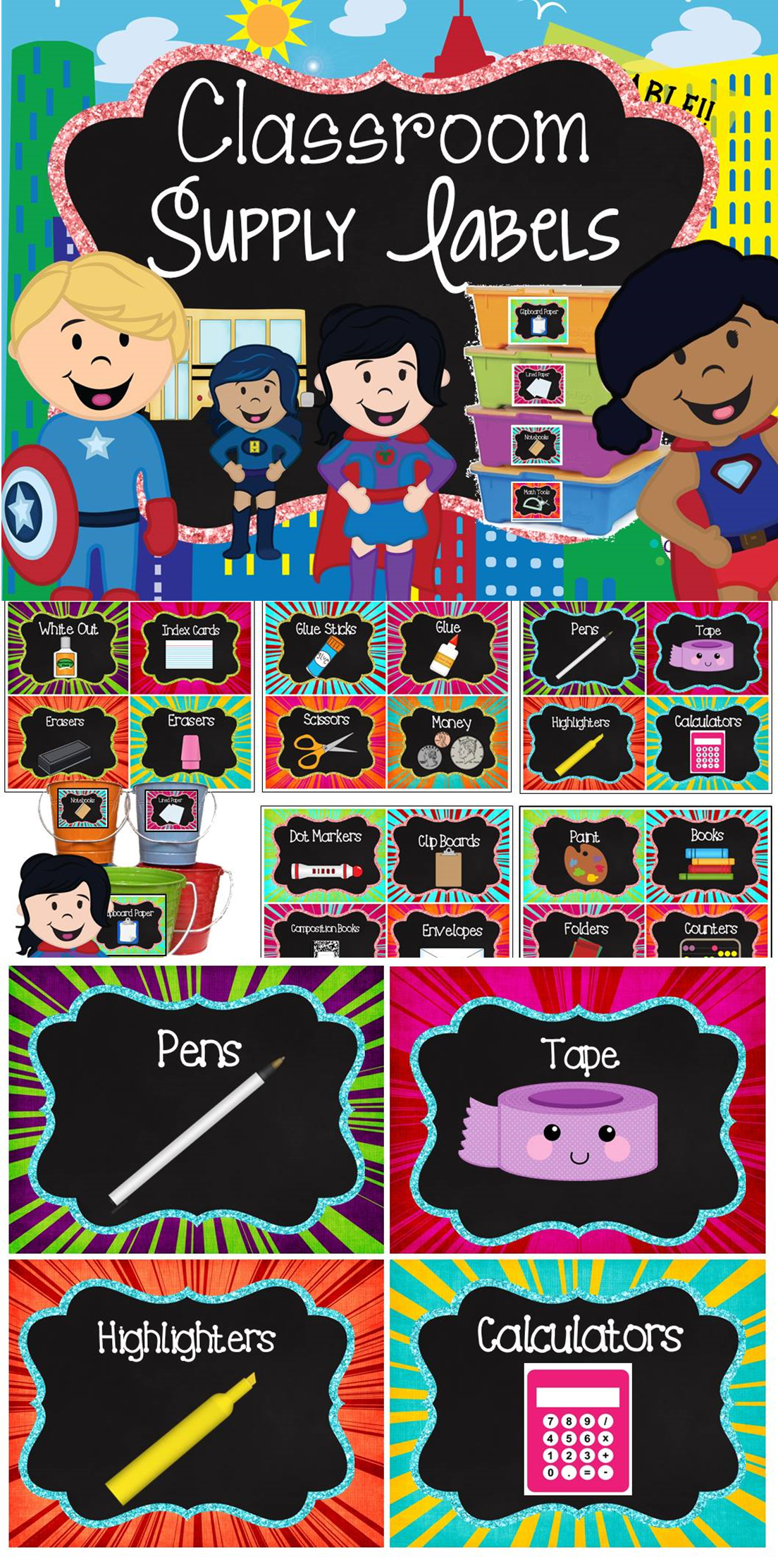 Labels Chalkboard Super Hero Theme