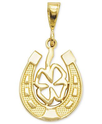 You're certain to bring good luck your way with this clever combo charm. A cut-out four leaf clover decorates the inside of a horseshoe in this detailed 14k gold charm. Chain not included. Approximate