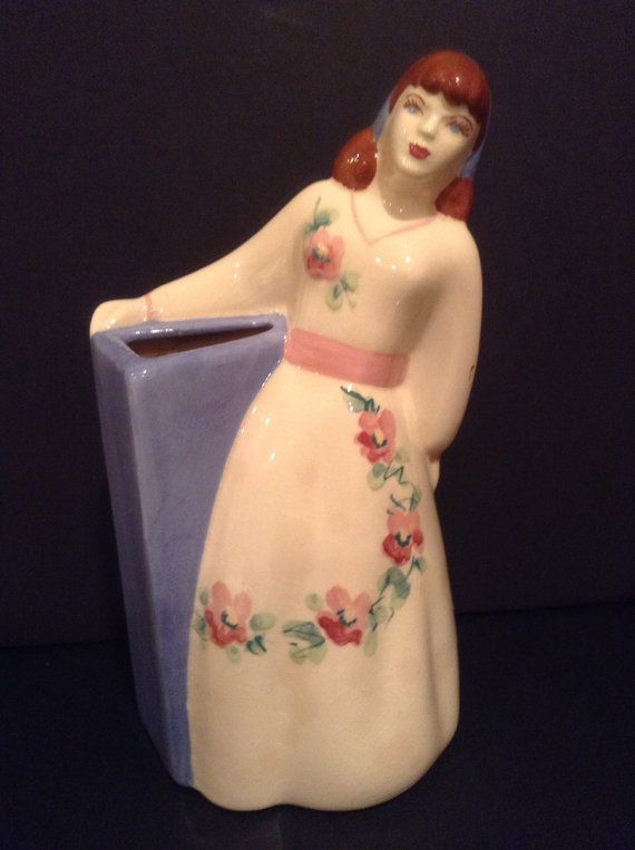 Vintage Weil Ware Made In California Girl Vase Beautiful