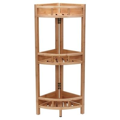 Household Essentials 3 Tier Corner Shelf Unit Light Brown In 2020 Corner Storage Unit Shelves Corner Shelf Unit