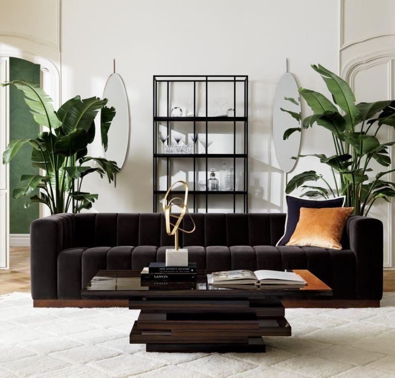 Real Grandeur Cushy Channels Of Plush Dark Grey Velvet Line The Length Of This Generous Sofa By Mermela Black Living Room Living Room Grey Couches Living Room