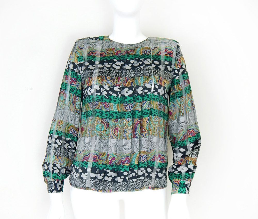 VIntage 80s Paisley Animal Print Blouse - Semi Sheer Women's Striped Long Sleeve Top - Size 12