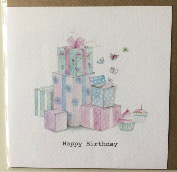 Happy Birthday Presents Card Taken From An Original Watercolour