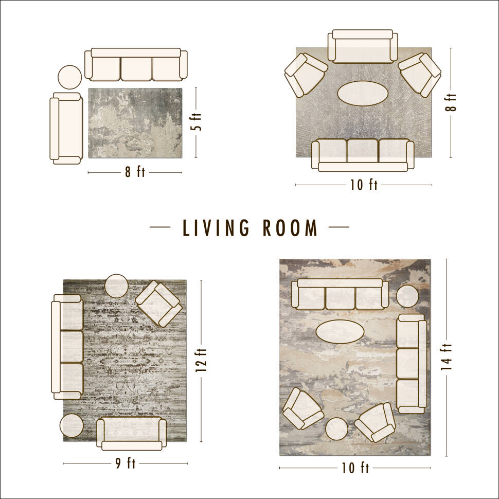 50+ Living room area rug placement information