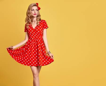 6bf61a9eb Fashion Beauty. PinUp Sensual Blond Girl Smiling in Red Polka Dots Summer  Dress. Woman