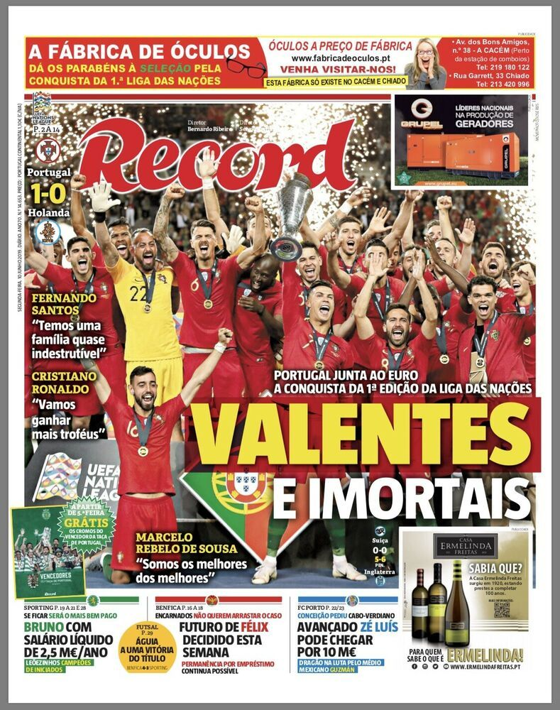 1st UEFA NATIONS LEAGUE - RECORD Newspaper - Portugal ...