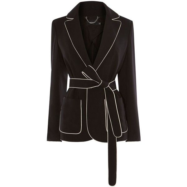 Womens black jacket with white piping