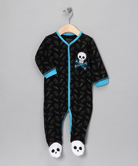 Black & Blue Skull Footie - Infant | zulily
