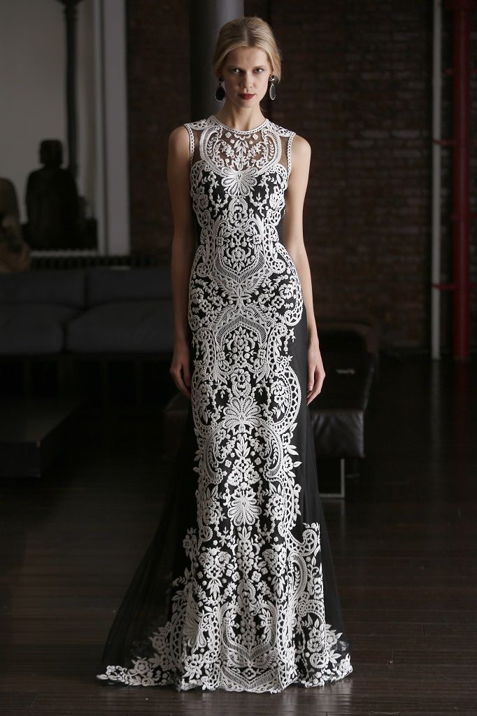 Naeem Khan :: RESORT 2015 :: LOOK 67 | Floral baroque-embroidered trumpet gown.  Shown in Black/White.  // Follow SoFreshandSoChic.com - a new lifestyle and fashion blog - for more inspiration and couture fashion. #sofreshandsochic #lovecouture