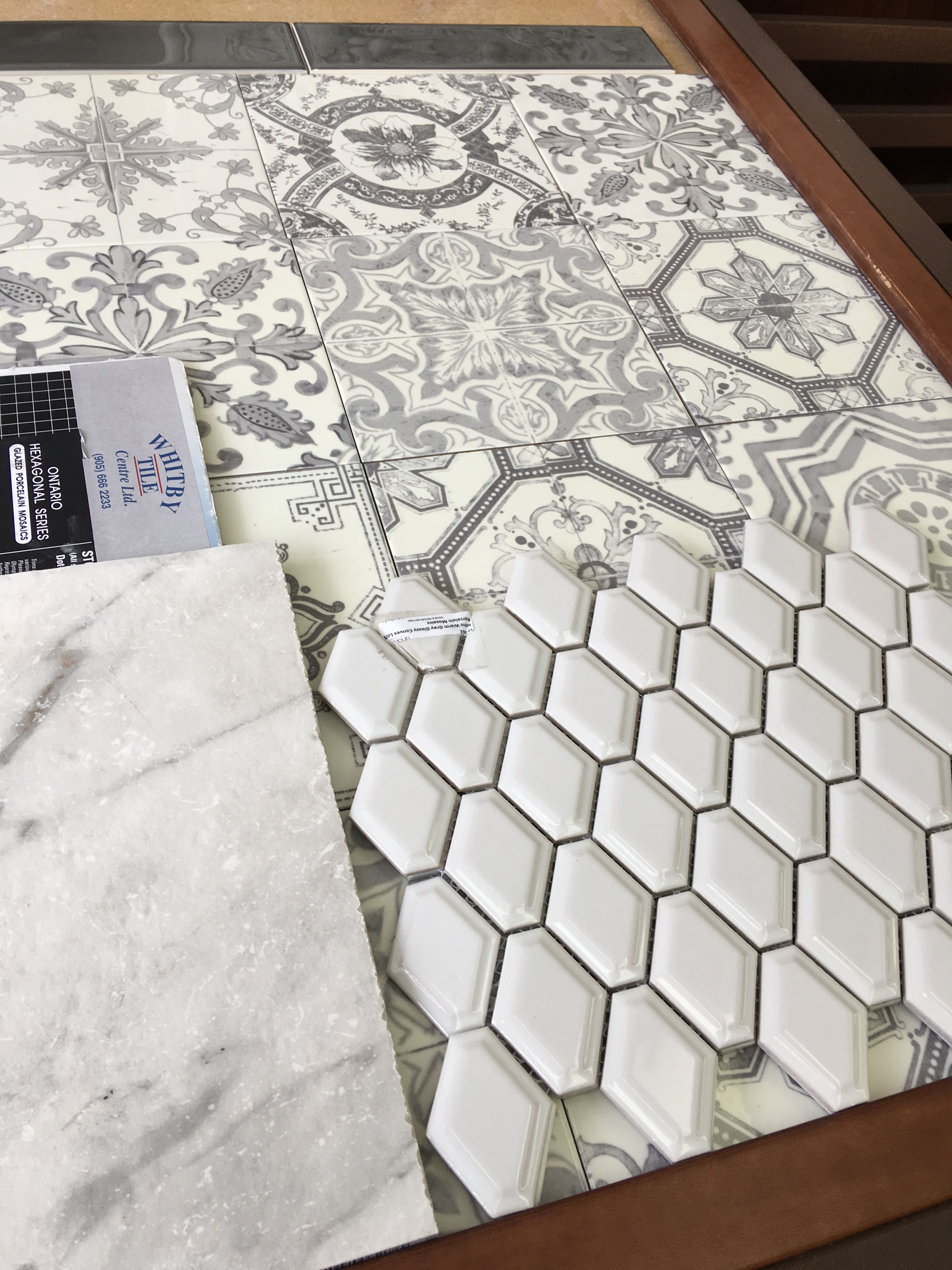 Master tile choices. Not sure if I do two walls with the patterned ...