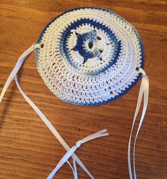Father son kippot bris yarmulkes crocheted blue white or YOUR colors ...