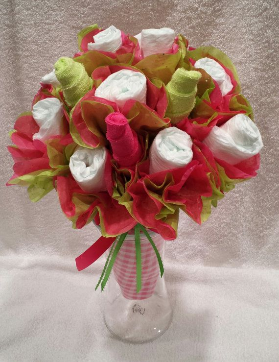 Pink n green diaper flower bouquet diaper centerpiece for Pink diaper bouquet