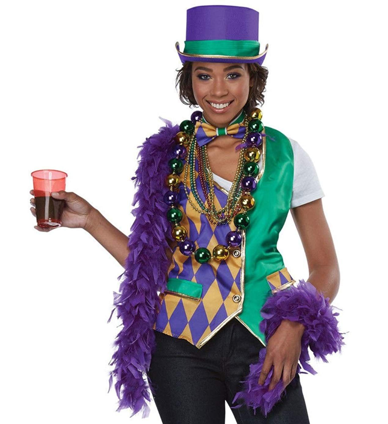 Mardi Gras Vest Women's Costume Kit, Small/Medium
