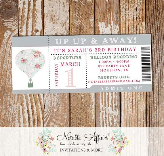 Up up away hot air balloon gray shabby chic birthday ticket up up away hot air balloon gray shabby chic birthday ticket invitation colors can stopboris Images