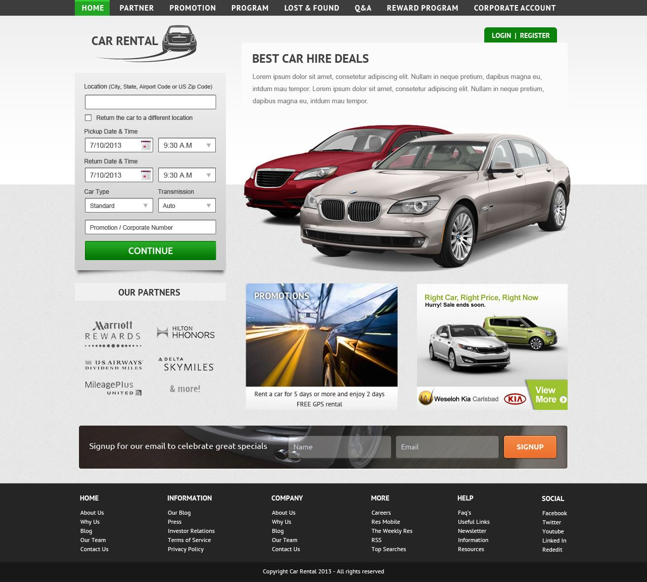 Homepage Mockup For A Car Rental Company With Images Car