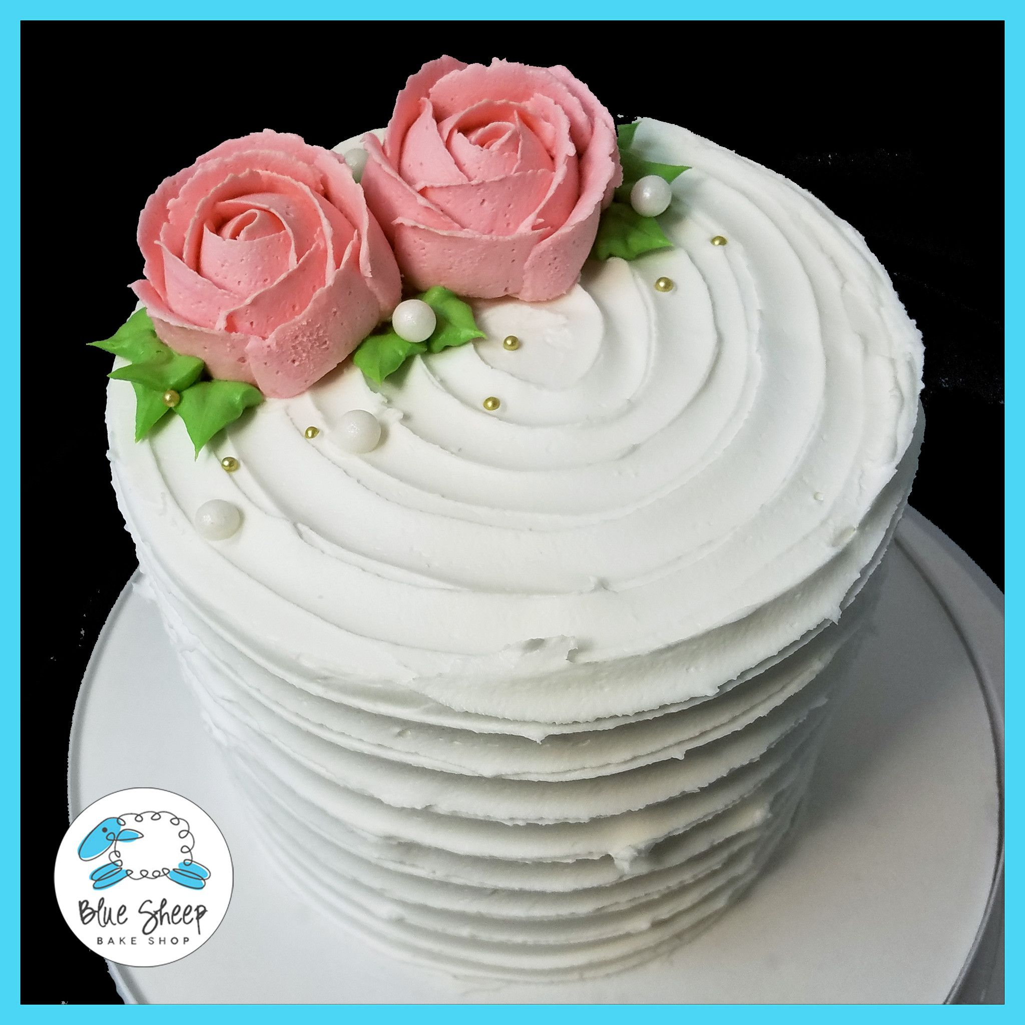 Double Rose Rustic Buttercream Cake In