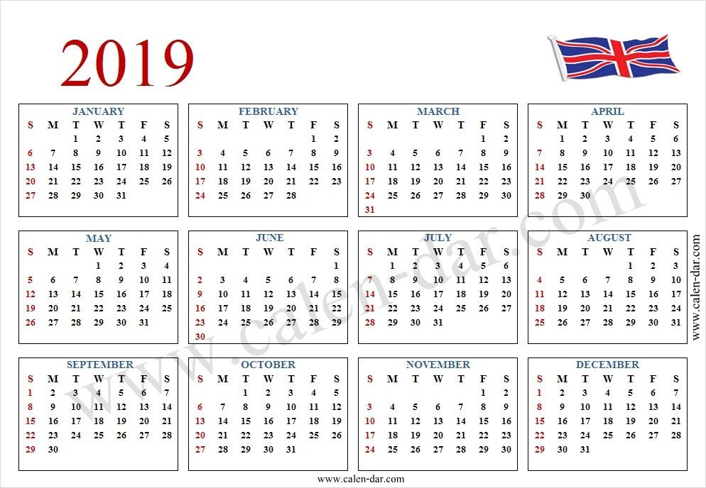 2019 Calendar With Week Numbers Uk | Calendar with week ...