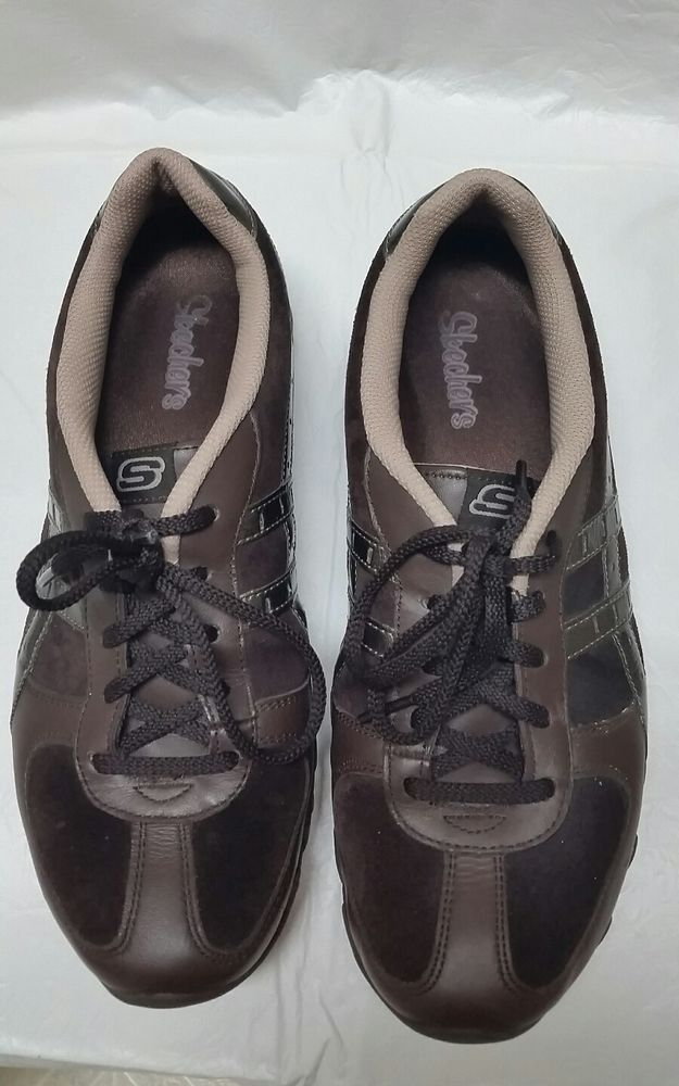 SKECHERS 21062 Womens 10M Brown Leather Lace Casual Fashion Sneaker Shoes