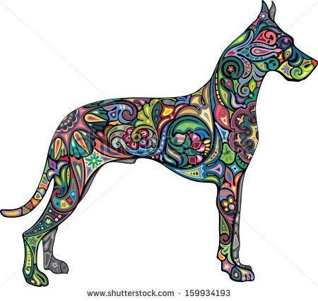 Great Dane Tattoo Great Dane Dog Illustration Dog Silhouette