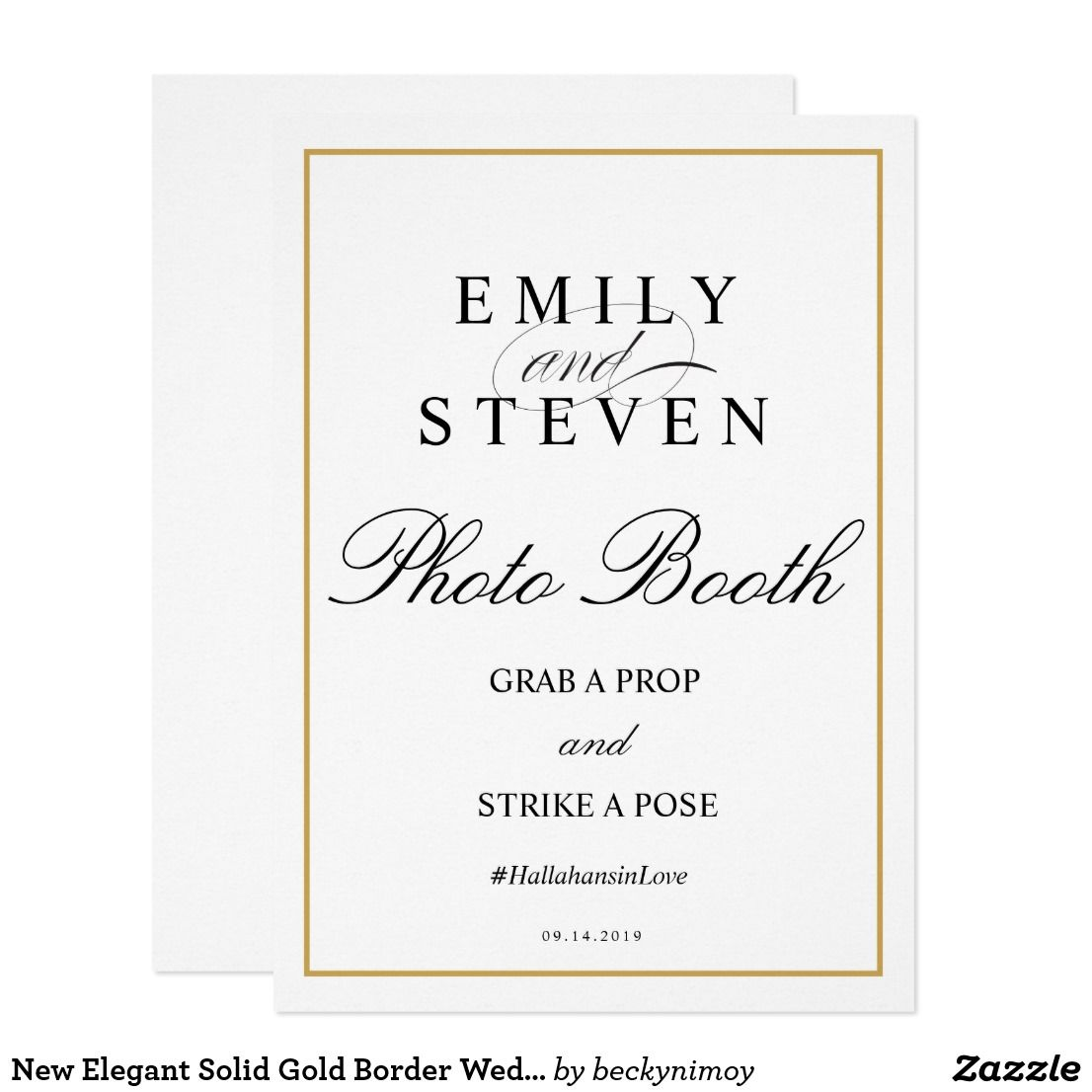 New Elegant Solid Gold Border Wedding Invitation | Wedding: Fall ...