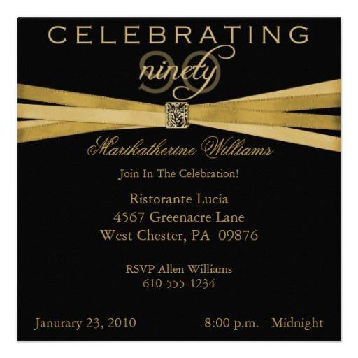 Elegant 90th Birthday Party Invitations 90th birthday