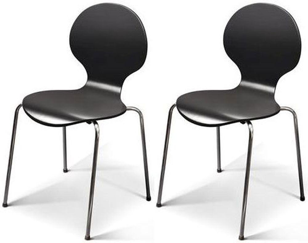 Jackpot Black Dining Chair With Chrome Legs Set Of 4 Black