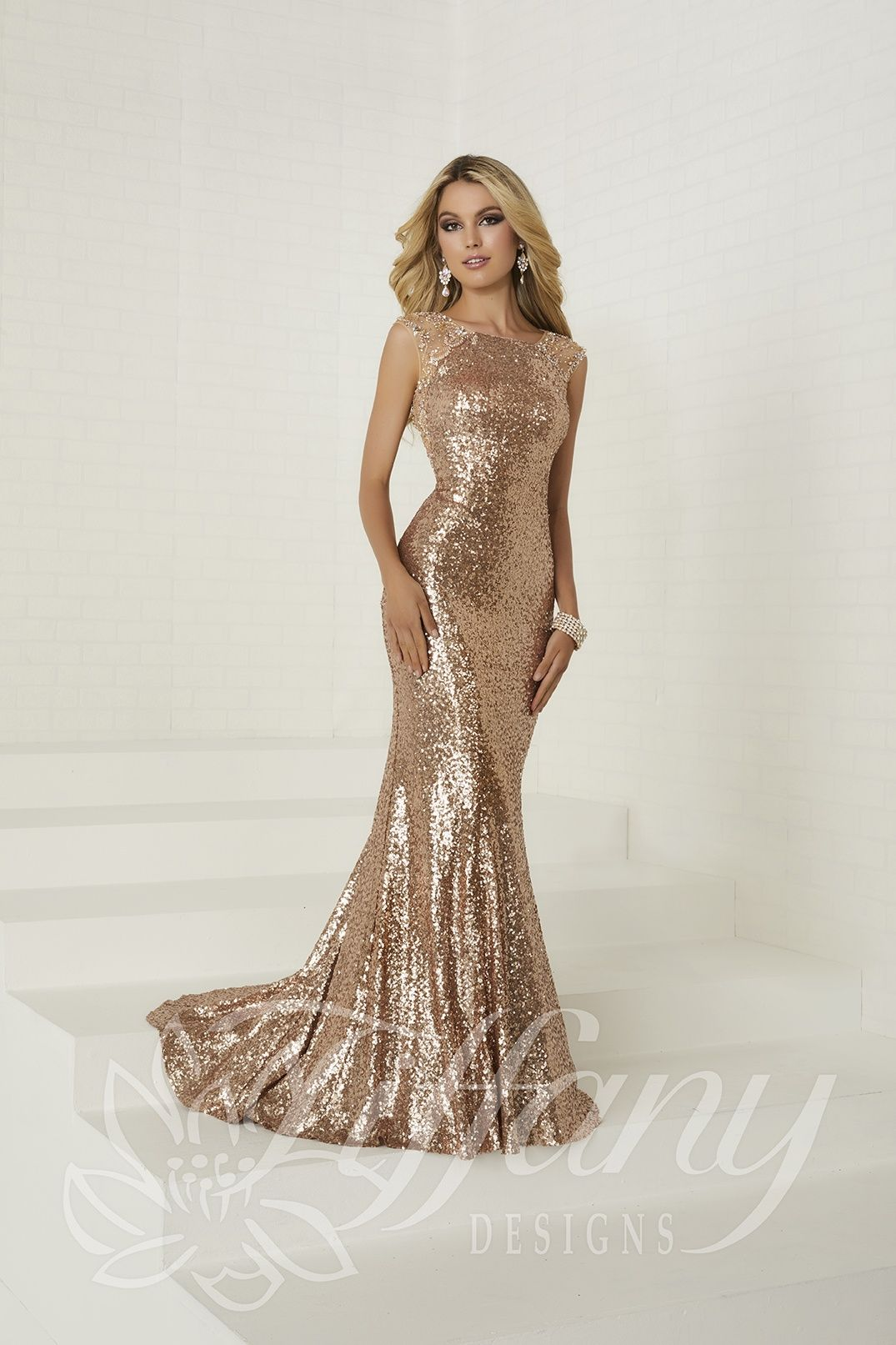 16292 House Of Wu Rose Gold Sequin Fitted Tiffany Prom 2018