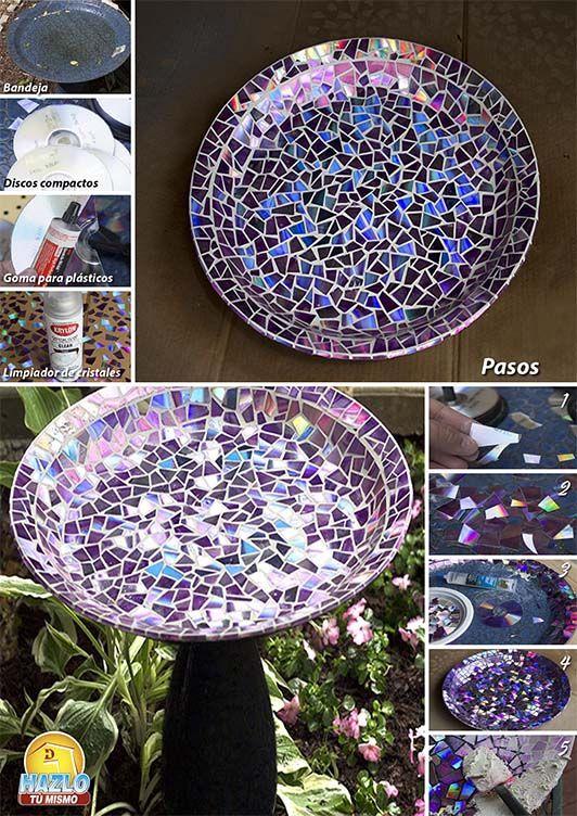 Fuente para aves hecha con cd 39 s hazlotumismo diy - Fuente para pajaros ...