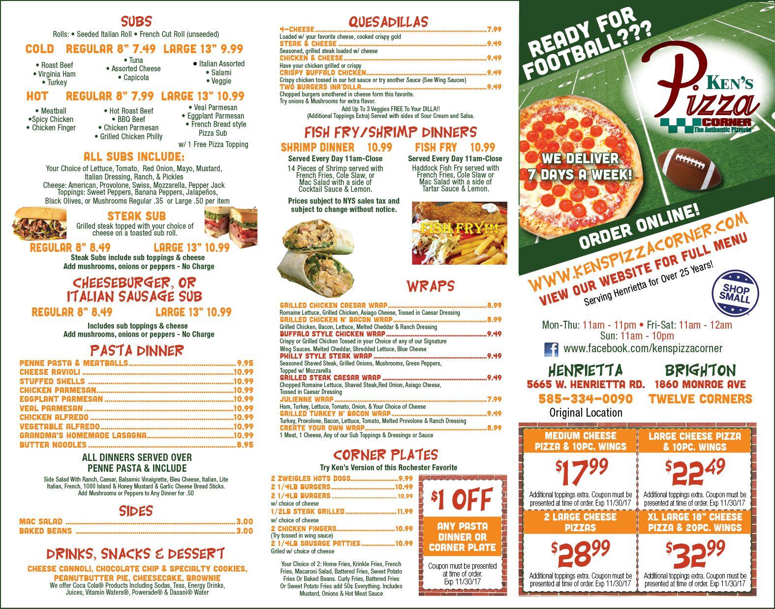 Kens Pizza Corner Deals
