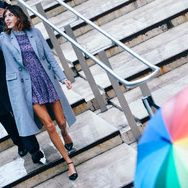 Love the ankle strap flats with girly dress and long coat - the great Alexa Chung