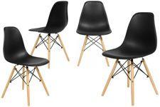 Nowoczesne czarne krzesło MEDIOLAN - 4 szt.