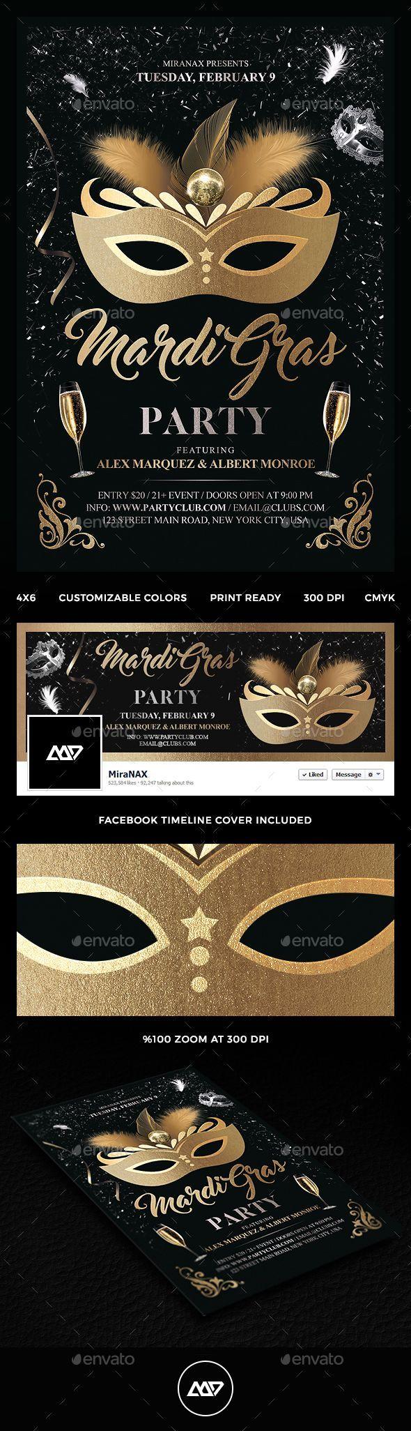 Mardi Gras Party Flyer   Party flyer, Mardi gras and Psd templates