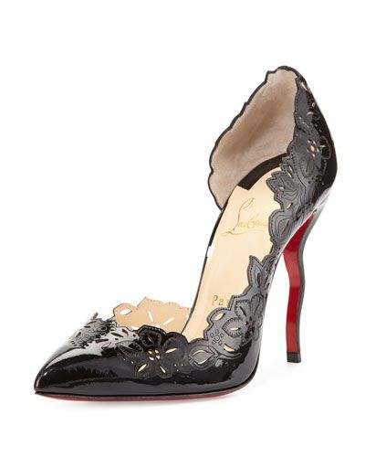 S0BC8 Christian Louboutin Beloved Laser-Cut Patent Red Sole Pump, Black