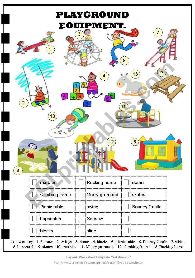 Playground Equipment Answer Key Playground Equipment Playground School Playground Equipment [ 1169 x 821 Pixel ]
