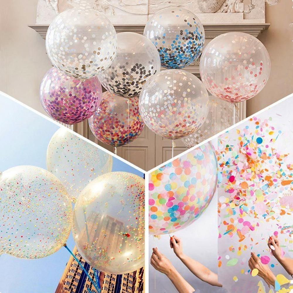 """12/"""" or 36/"""" Helium Quality CONFETTI FILLED BALLOONS"""