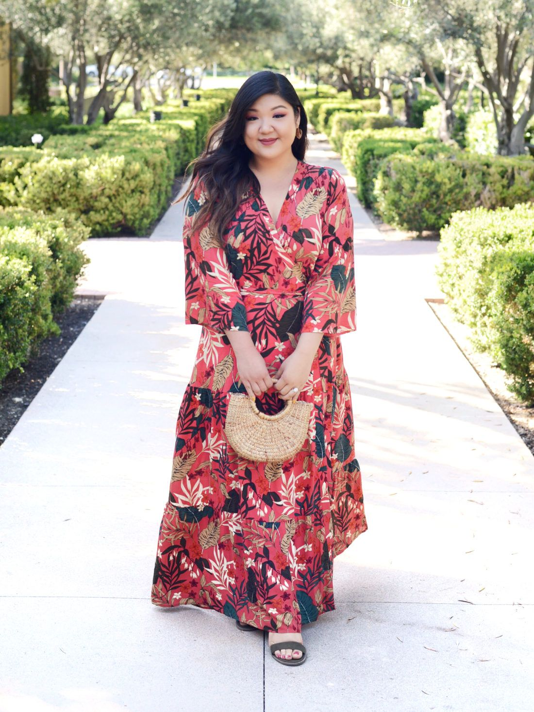 82adef319c4 Curvy Girl Chic Plus Size Fashion Blog ELOQUII tropical maxi dress fall  outfit