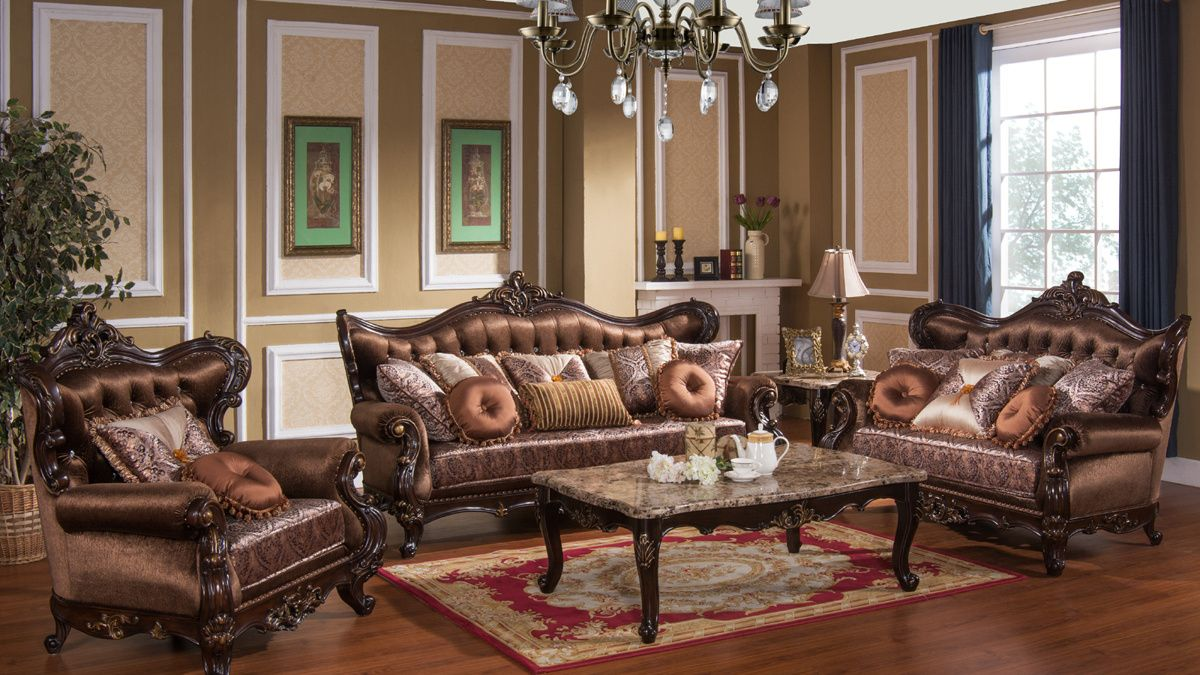 Aroma Brown Gold Wood Fabric Living Room Set Living Room Sets