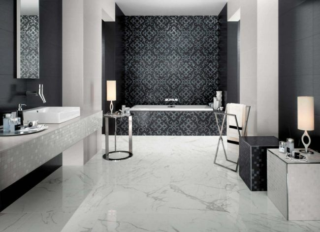 bad fliesen mosaik muster elegant marmor fussboden schwarz weiss - badfliesen ideen mit mosaik