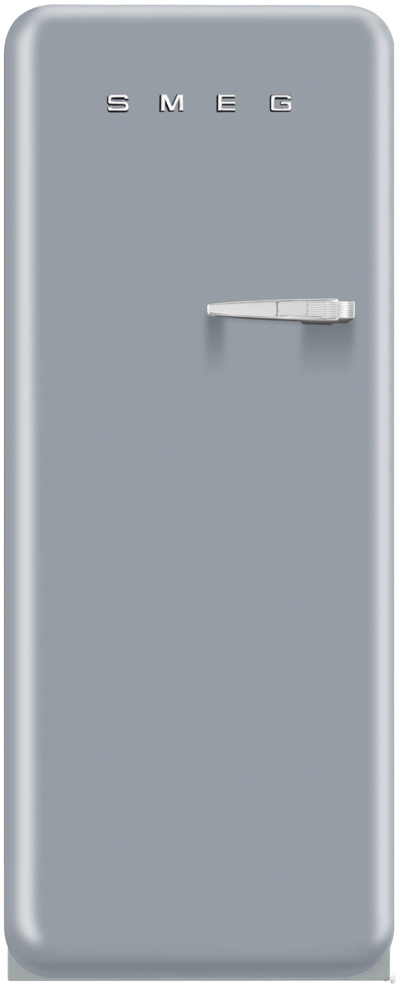 Smeg FAB28USVL1 9.22 cu. ft. 50's Style Refrigerator with Adjustable Glass Shelves, Wine Bottle Shelf, Crisper Drawer, Adjustable Door Bins, Manual Defrost and Freezer Compartment: Silver, Left Hinge Door Swing