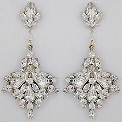 Erin Cole Bridal Chandelier Earrings Large Fan Drop Crystal