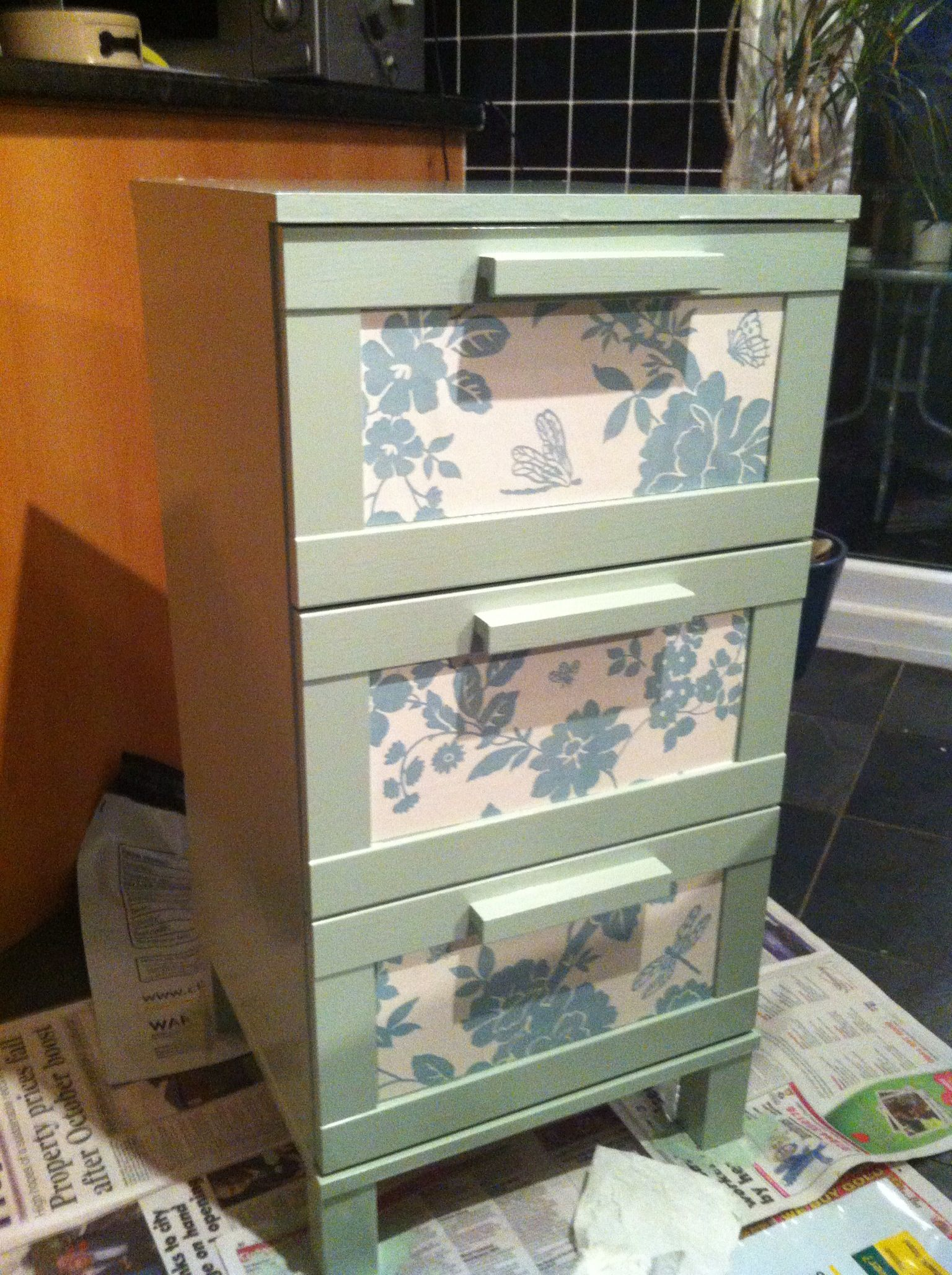 Aneboda Chest Of Drawers After The Same Aneboda But With Some Wallpaper Pieces And A Coat