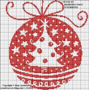 Grille gratuite point de croix : Boule de Noel - Sapin monochrome rouge | Punto croce natalizio ...