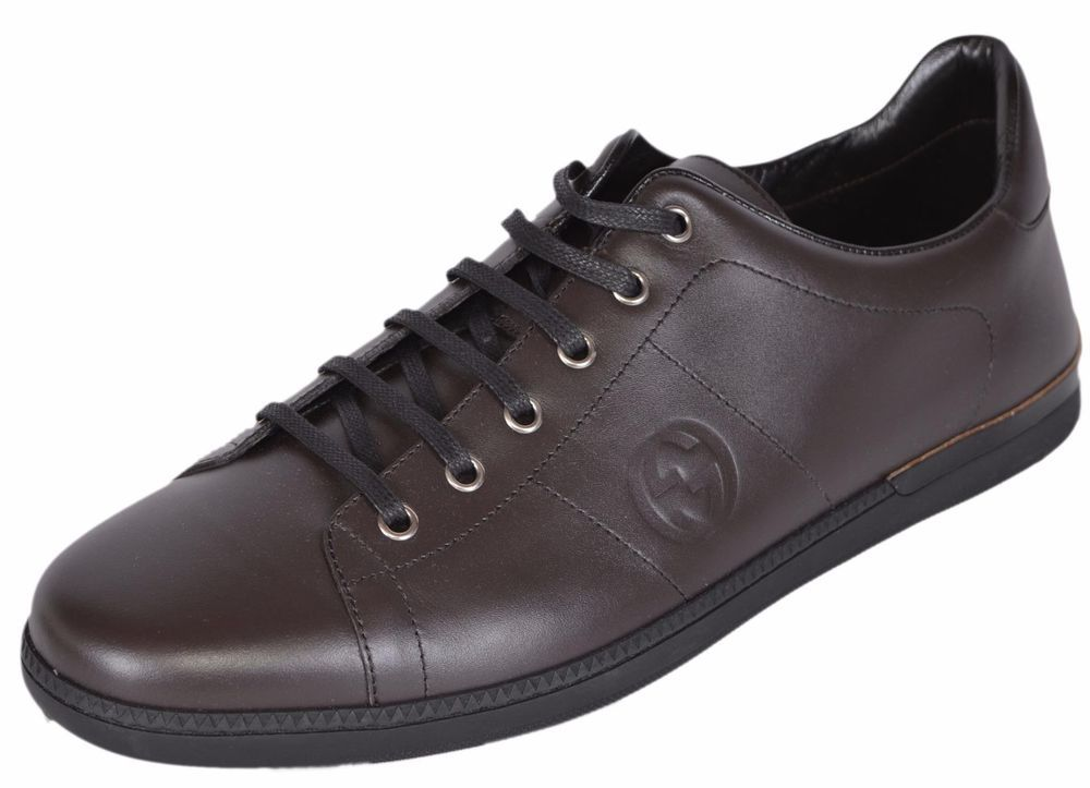 22b5aae6e254 NEW Gucci Men s 329843 Brown MiroSoft Leather GG Sneakers Shoes 11.5 G 12.5  US  Gucci  FashionSneakers