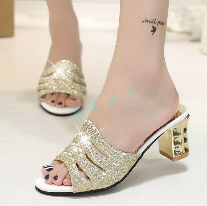 Bling Bling Womens Fashion High Block Heels Sandals Causal Slipper Shoes Us Size