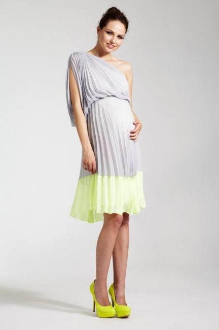 One Shoulder Sunray Pleated Maternity Dress With Contrast Hem Band The Lightweight Chiffon Fabric D Beautifully Over Your P