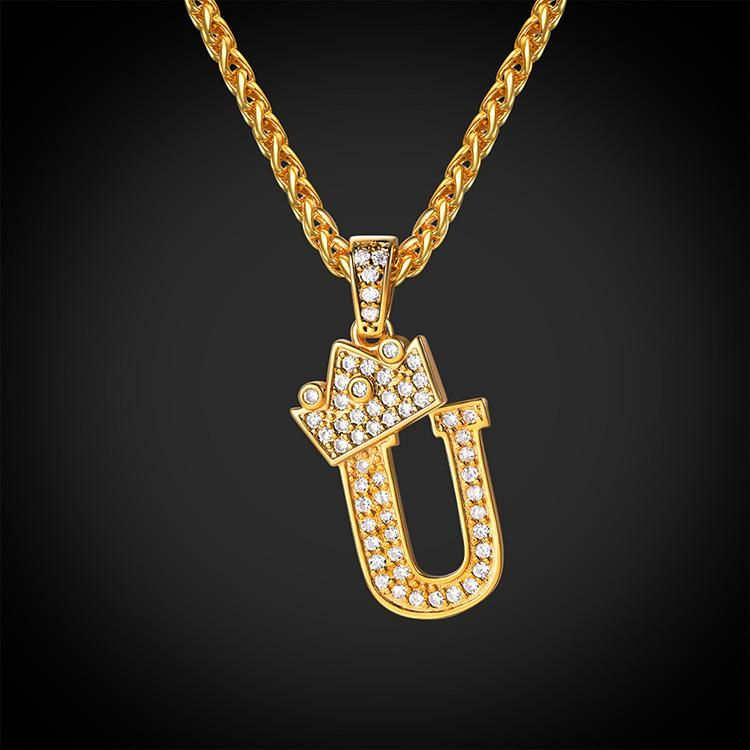 Iced Out Alphabet U Necklace Crown Diy 26 Letters Shaped Wheat